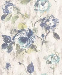 Casa Padrino Barock Vliestapete Grau / Blau / Grün 10,05 x 0,53 m - Tapete mit Blumenmuster - Deko Accessoires