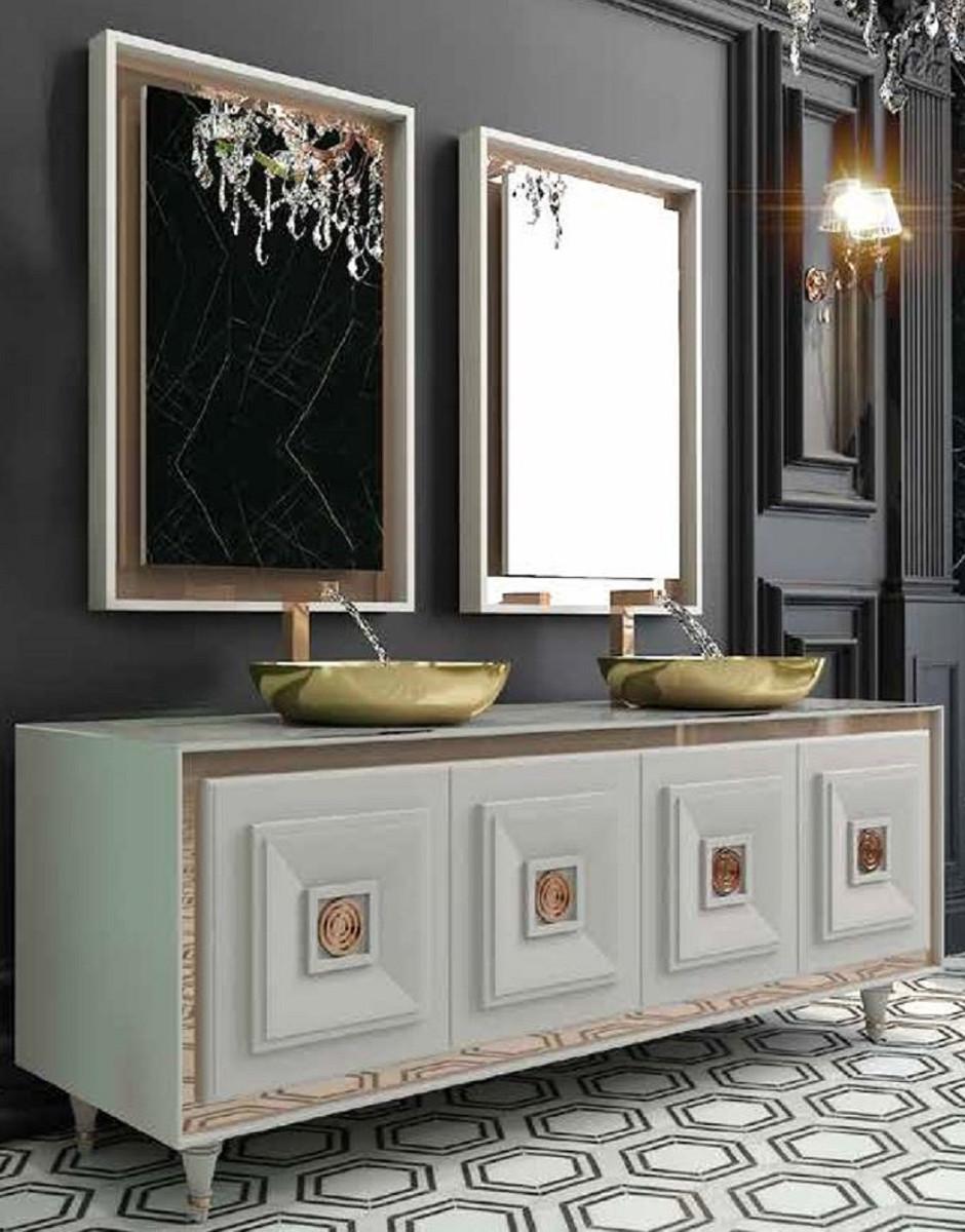 Casa Padrino Luxus Badezimmer Set Weiss Bronze Gold 1 Waschtisch Mit 4 Turen Und 2 Waschbecken Und 2 Wandspiegel Luxus Badezimmermobel Barockgrosshandel De