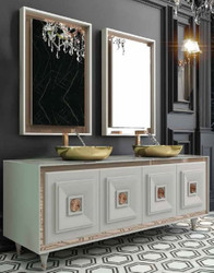 Casa Padrino Luxury Bathroom Set White / Bronze / Gold - 1 Vanity unit with 4 Doors and 2 Sinks and 2 Wall Mirrors - Luxury Bathroom Furniture