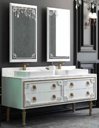 Casa Padrino Luxury Bathroom Set White / Gold - 1 Vanity unit with 4 Drawers and 2 Sinks and 2 Wall Mirrors - Luxury Bathroom Furniture