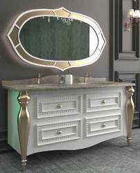 Casa Padrino Luxury Baroque Bathroom Set White / Gray / Gold - 1 Vanity unit with 4 drawers and 2 Sinks and 1 Wall Mirror - Sumptuous Bathroom Furniture