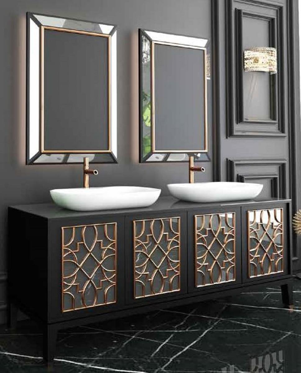 Casa Padrino Luxus Badezimmer Set Schwarz Gold Weiss 1 Waschtisch Mit 4 Turen Und 2 Waschbecken Und 2 Wandspiegel
