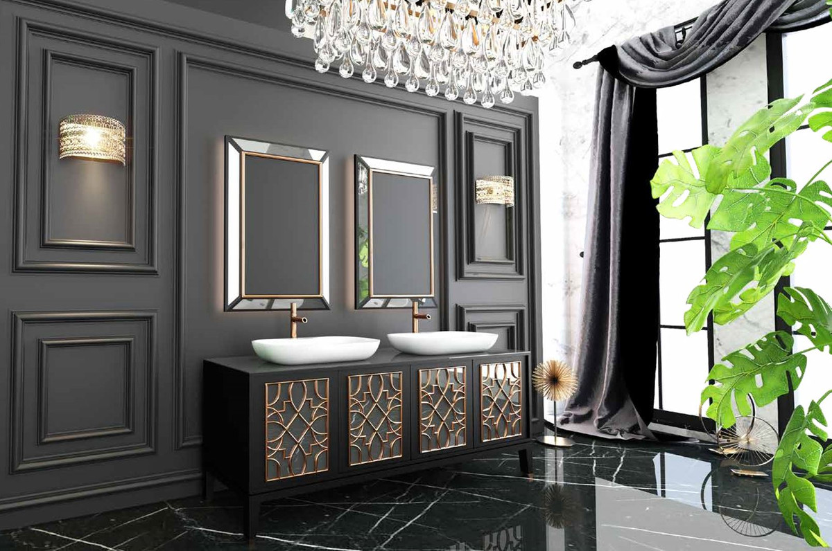 Casa Padrino Luxury Bathroom Set Black Gold White 1 Vanity Unit With 4 Doors And 2 Sinks And 2 Wall Mirrors Luxury Quality