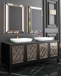 Casa Padrino Luxury Bathroom Set Black / Gold / White - 1 Vanity Unit with 4 Doors and 2 Sinks and 2 Wall Mirrors - Luxury Quality