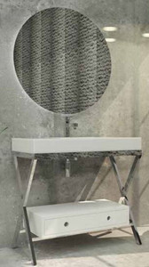 Casa Padrino Luxus Badezimmer Set Silber / Weiß - 1 Waschtisch mit Schublade und 1 Waschbecken und 1 LED Wandspiegel - Luxus Qualität