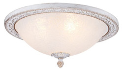 Casa Padrino baroque ceiling lamp white / gold Ø 36 x H. 18 cm - Round Ceiling Light in Baroque Style