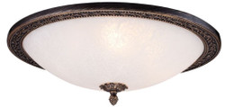 Casa Padrino baroque ceiling lamp bronze / white Ø 47 x H. 18.5 cm - Round Ceiling Light in Baroque Style