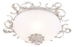 Casa Padrino baroque ceiling lamp antique white / white Ø 42 x H. 16 cm - Baroque Decoration Accessories