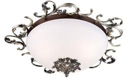 Casa Padrino baroque ceiling lamp antique bronze / white Ø 42 x H. 16 cm - Baroque Decoration Accessories