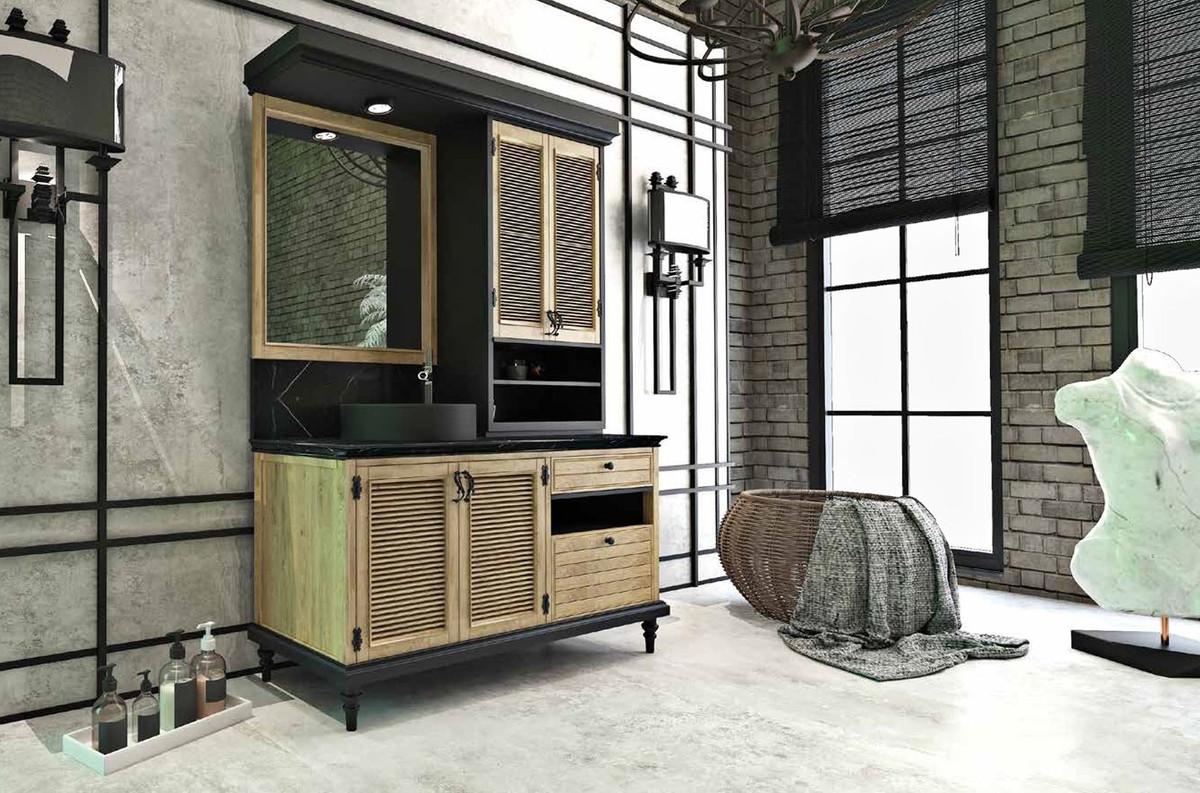 Casa Padrino Luxus Landhausstil Badezimmer Set Naturfarben / Schwarz -  Beleuchteter Waschtisch mit 4 Türen und 2 Schubladen und 1 Waschbecken und  1 ...