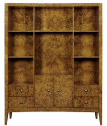 Casa Padrino luxury bookcase with 2 doors and 4 drawers light brown 150 x 35 x H. 190 cm - Office Cabinet - Living Room Cabinet - Luxury Quality