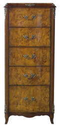 Casa Padrino Luxury Baroque Chest of Drawers with 5 Drawers Light Brown / Brown 56 x 36 x H. 128 cm - Baroque Furniture