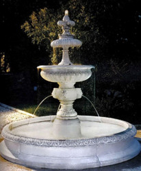 Casa Padrino Baroque Fountain White Ø 240 x H. 220 cm - Splendid Baroque Fountain - Garden Decoration