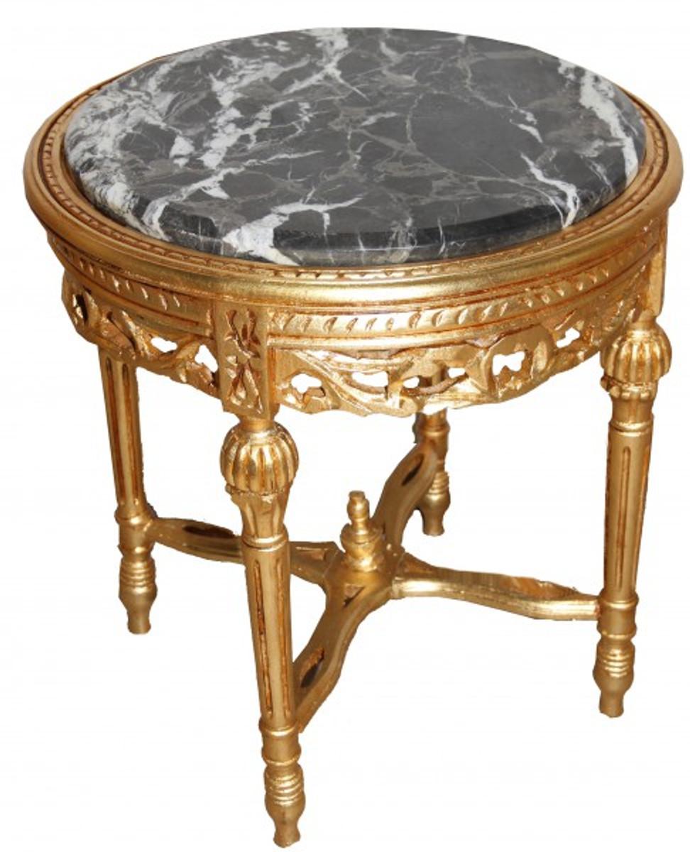 Barock Beistelltisch Rund Gold ModY18  53 x 47 cm Antik Stil 1