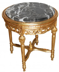 Baroque Side Table Gold Round ModY18 53 x 47cm antique style