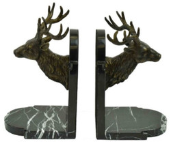 Casa Padrino luxury bookends set deer head bronze / black 10 x 13 x H. 23 cm - Luxury Decoration