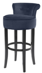 Casa Padrino luxury bar chair midnight blue / black 45 x 51 x H. 88 cm - Bar Stool with Fine Velvet Fabric