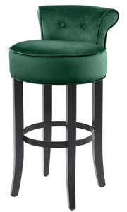 Casa Padrino luxury bar chair green / black 45 x 51 x H. 88 cm - Bar Stool with Fine Velvet Fabric
