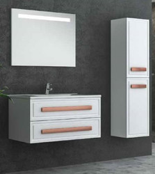 Casa Padrino Luxury Bathroom Set White / Bronze - 1 Vanity Unit and 1 Washbasin and 1 LED Wall Mirror and 1 Hanging Cabinet - Luxury Bathroom Furniture