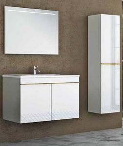 Casa Padrino Luxus Badezimmer Set Weiß / Gold - 1 Waschtisch und 1 Waschbecken und 1 LED Wandspiegel und 1 Hängeschrank - Luxus Kollektion – Bild 1