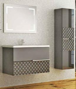 Casa Padrino Luxus Badezimmer Set Grau / Schwarz - 1 Waschtisch und 1 Waschbecken und 1 LED Wandspiegel und 1 Hängeschrank - Luxus Kollektion – Bild 1