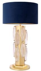 Casa Padrino Luxus Tischleuchte Gold / Blau Ø 45 x H. 82 cm - Runde Tischlampe mit Samt Lampenschirm - Luxus Kollektion