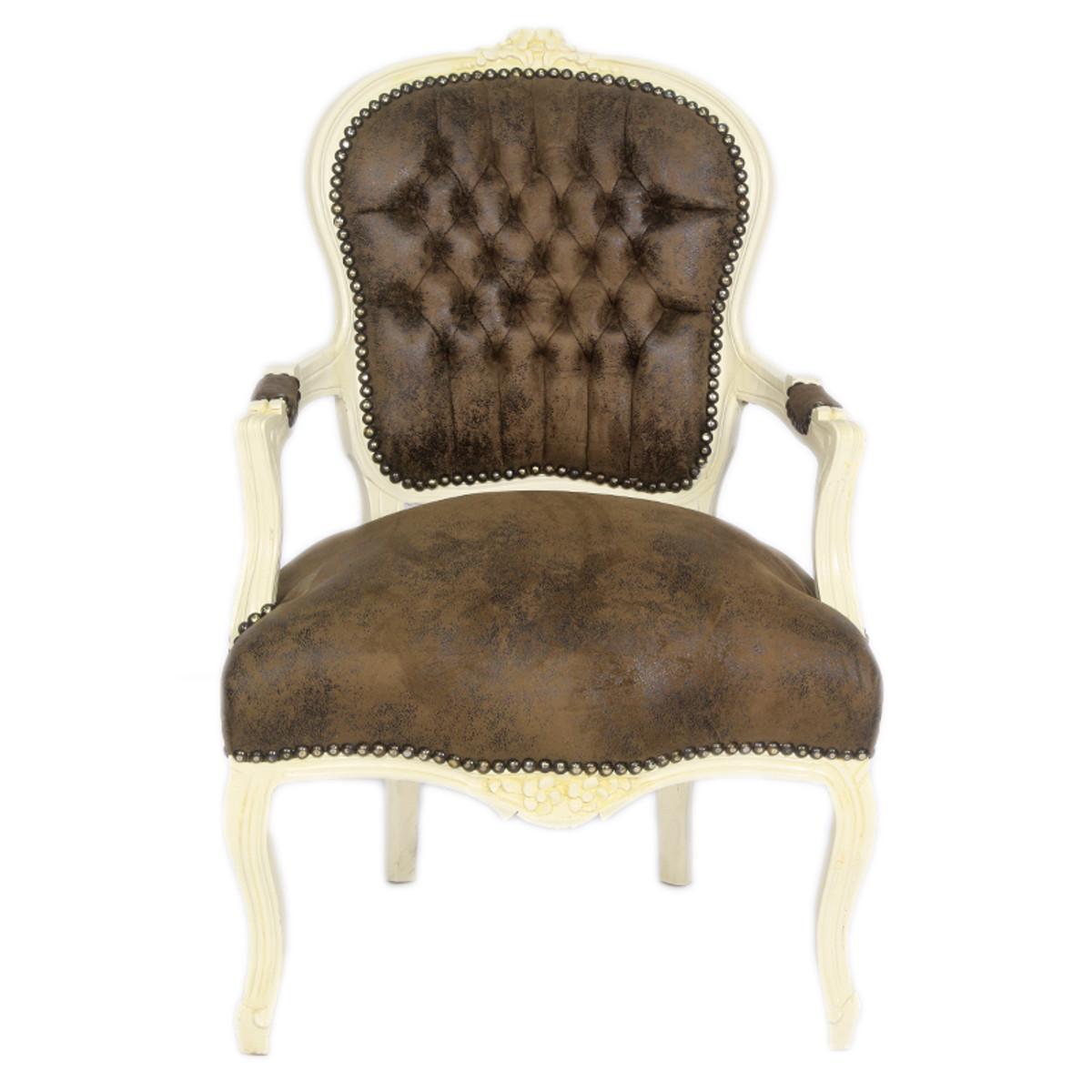 casa padrino barock salon stuhl braun lederoptik creme. Black Bedroom Furniture Sets. Home Design Ideas