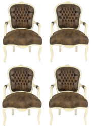 Casa Padrino Baroque Salon Chair Set Brown / Cream 60 x 50 x H. 93 cm - 4 Handmade Salon Chairs with Leather Look - Baroque Furniture