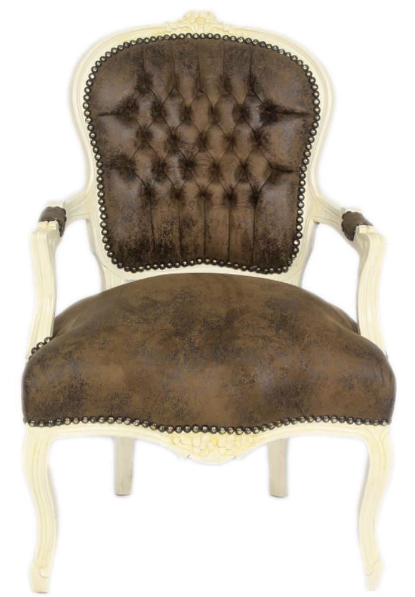 Casa Padrino Barock Salon Stuhl Set Braun Creme 60 X 50