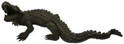 Casa Padrino Luxus Bronzefigur Krokodil Bronzefarben 180 x 90 x H. 65 cm - Luxus Bronze Skulptur - Dekofigur - Luxus Qualität