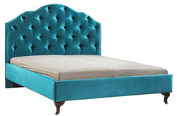Casa Padrino luxury art nouveau double bed turquoise / dark brown 170 x 211 x H. 139 cm - Art Nouveau Bed - Baroque & Art Nouveau Bedroom Furniture