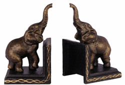 Casa Padrino Cast Iron Bookends Set Elephant Bronze / Black / Gold 9.3 x 7.8 x H. 15 cm - Decoration Accessories