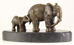 Casa Padrino Bronze Skulptur Elefant mit Kalb Bronze / Gold / Schwarz 21,7 x 10,2 x H. 11,1 cm - Deko Bronzefiguren mit Marmorsockel