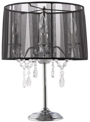 Casa Padrino baroque crystal table lamp silver / black Ø 35 x H. 49 cm - Table Lamp with Glass Hanging and Round Lampshade