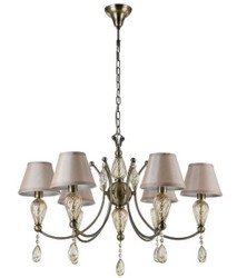 Casa Padrino Baroque Crystal Chandelier Antique Bronze / Champagne / Gray Ø 80 x H. 55 cm - Magnificent Chandelier in Baroque Style