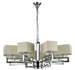 Casa Padrino Art Deco Chandelier Silver / Khaki Ø 84 x H. 38 cm - Living Room Chandelier in Art Deco Style