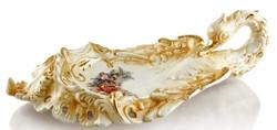 Casa Padrino Barock Serviertablett Schwan mit Blumen Gold / Weiß / Mehrfarbig 54 x 30 x H. 16 cm - Handbemaltes Keramik Tablett im Barockstil