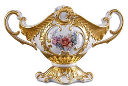 Casa Padrino Baroque Bowl White / Gold / Multicolor 46 x 22 x H. 29 cm - Hand Painted Ceramic Bowl with Floral Motif