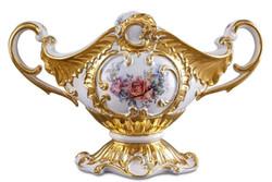 Casa Padrino Barock Schüssel Weiß / Gold / Mehrfarbig 46 x 22 x H. 29 cm - Handbemalte Keramik Schüssel mit Blumenmotiv