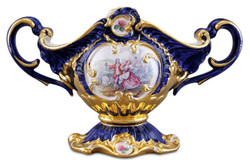 Casa Padrino Barock Schüssel Blau / Gold / Mehrfarbig 46 x 22 x H. 29 cm - Handbemalte Keramik Schüssel mit romantischem Motiv