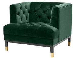 Casa Padrino Luxury Living Room Armchair Green / Black / Brass 93 x 85 x H. 79 cm - Chesterfield Furniture