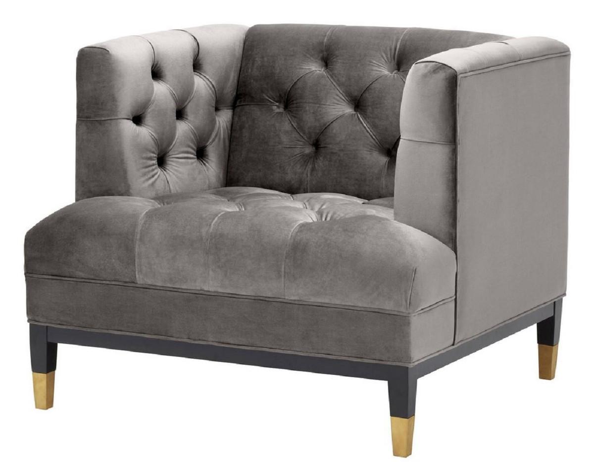 Casa Padrino Luxus Wohnzimmer Sessel Grau Schwarz Messingfarben