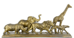Casa Padrino Decorative Sculptures Animals of Africa Antique Gold 68 x 15.2 x H. 32.8 cm - Polyresin Deco Figurines - Living Room Decoration