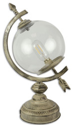 Casa Padrino Art Nouveau Table Lamp Sundial Antique Cream 26 x 19.6 x H. 44 cm - Battery Operated Tin Lamp