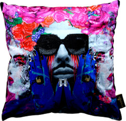 Harald Glööckler Designer Cushion Pompöös by Casa Padrino Face & Sunglasses with Rhinestones - Art Collection -
