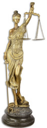 Casa Padrino Deco Figurine Lady of Justice Antique Gold / Antique Black 16.2 x 15 x H. 52.5 cm - Polyresin Deco Sculpture on Base