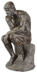 Casa Padrino Polyresin Deco Sculpture The Thinker Gray 18 x 22.2 x H. 39.9 cm - Deco Figure