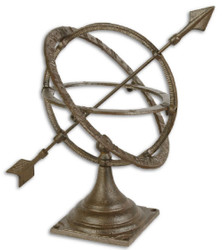 Casa Padrino Art Nouveau Cast Iron Sundial / Table Sundial Antique Brown 28.5 x 21.5 x H. 29.4 cm - Garden Decoration