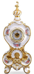 Casa Padrino Baroque Table Clock White / Gold / Multicolor 37 x 17 x H. 84 cm - Sumptuous Baroque Ceramic Clock with Floral Design