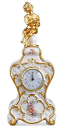 Casa Padrino Baroque Table Clock White / Gold / Multicolor 17 x 12 x H. 40 cm - Baroque Decoration Accessories